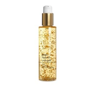 YELLOW ROSE<br /> Kūno aliejus su aukso lakštais, stangrinantis bei liekninantis – body massage oils – ginger body oil with 23K gold, 200ml